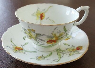 Crown Staffordshire Flowers Tea Cup and Saucer made in England