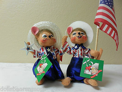 "MINTNWT! Annalee 6"" PATRIOTIC BOY & GIRL MOUSE 75th Anniversary! Labor Day Set!"