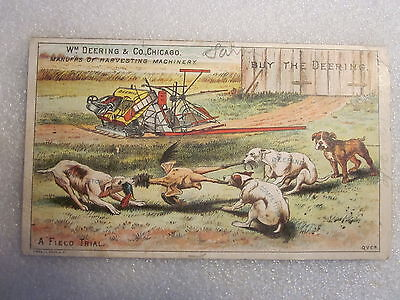 Victorian era Wm. Deering Harvesting Machinery tradecard double sided