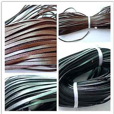 hot sale Flat Dark Coffee/Black 5mm*2mm Real Genuine Leather Thong String Cord