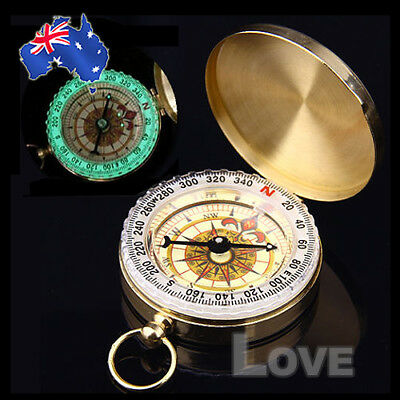 OZ Gold Hiking Outdoor Activity Camping Compass Classic Brass Pocket Watch Style