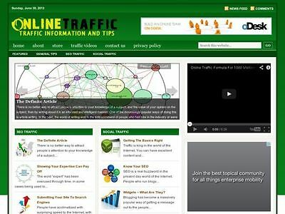 Online / Social Traffic Tips Wordpress Blog Website For Sale!