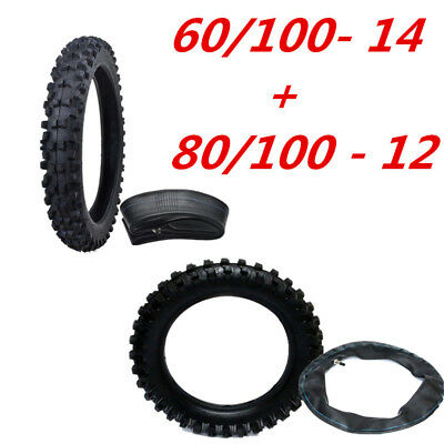 """New 60/100- 14"""" Front 80/100- 12"""" Rear Knobby Tyre Tire + Tube PIT Dirt Bike"""
