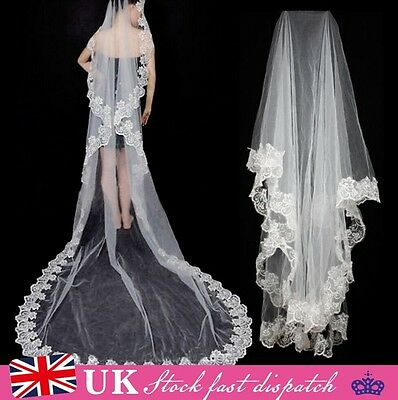 New White Ivory Elegant Cathedral Length Wedding Bridal Veil With Lace Edge
