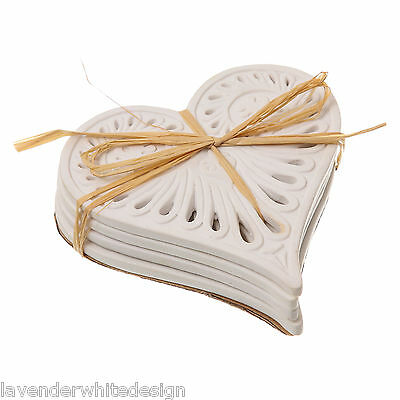 Set of 4 Cabana White Vintage Style Love Heart Ceramic Coasters  Table Mat