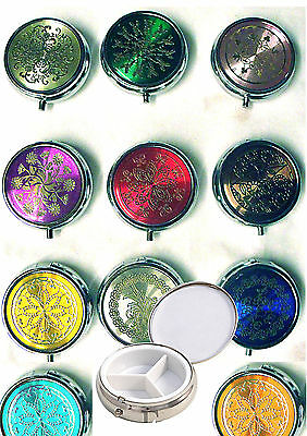 Pill Box. Metal. Three Compartments. Patterned Lid. In Gift Pouch.  UK SELLER