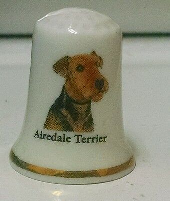 Airedale Terrier Bone China Thimble New Free Shipping