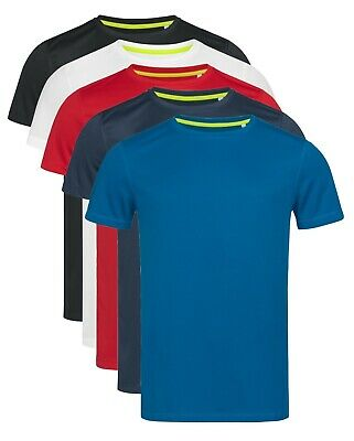 ACTIVE-DRY Mens Mans Plain Breathable Polyester Sports Athletic Tee T-Shirt