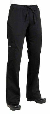 Chef Works CPWO-BLK Women`s Cargo Chef Pants, Black, Size XS , New, Free Shippin