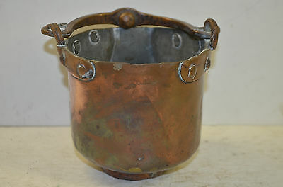 small brass hanging pot, handle  brass type alloy, hand made, 17th-18th century