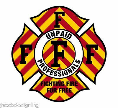 """Firefighter Decals - CHEVRON Fighting Fire for Free 4"""" Exterior Window Decal"""