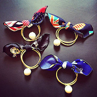 1 Women Girls Flag Print Bow Hair Ponytail Holder Band Tie with pearl Scrunchie