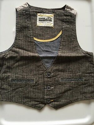 New MAX Boys Children Kids Grey Stripe cotton linen Casual formal Spring Vest