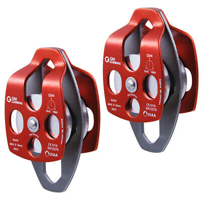 Pack of 2 Large Twin Pulley 32kN Block and Tackle System Rescue Climbing Rigging
