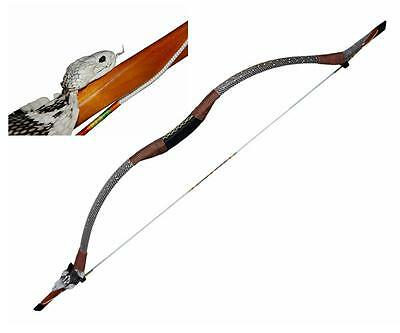 50LB Traditional Mongolian Archery SnakeSkin Hunting Recurve Horse Bow Targeting