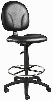 New Black Leather Drafting Stool Chair With Chrome Foot Ring B1690-Cs