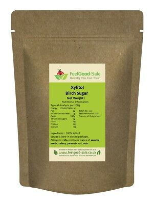 Birch Xylitol 1kg Pouch Sugar Free Sweetener Natural Certified  Finland + Gift