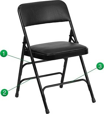 Metal Folding Chair with Black Vinyl Triple Braced & Quad Hinged - Heavy Duty