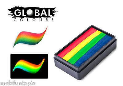 Global BodyArt 30g Amsterdam Fun Stroke Rainbow Cake, Professional Face Paint