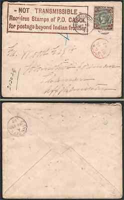 Afghanistan 1892 cover to Chaman/Britain 1887 4d/NOT TRANSMISSABLE ... handstamp