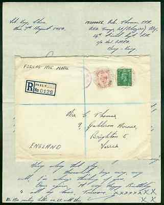 China/Hong Kong 1950 FPO 701 registered airmail cover to England