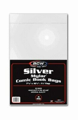 100 BCW Silver Age / Era 4-Mil Comic Book Mylar Bags + Acid Free Backer Boards