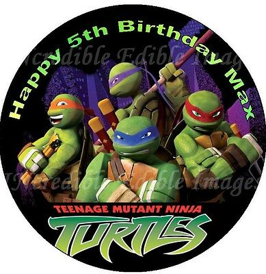 19cm Round Teenage Mutant Ninja Turtles Edible Cake Topper