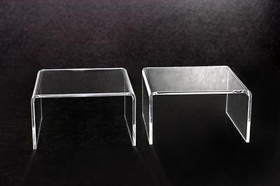 2x Clear Acrylic Riser Stand Shelf window counter display Jewelry Gifts Showcase