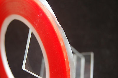 2Mm X 33M Red Double Sided  Transparent Tape , Ultra Strong