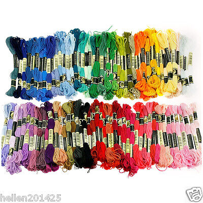 100 Different Colors Cross Stitch Floss Cotton Thread Embroidery Sewing Skeins