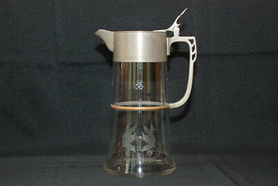 ANTIQUE ART DECO NOUVEAU ETCHED GLASS CLARET PITCHER EWER DECANTER W/HINGED LID