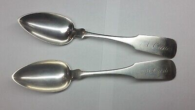 Early American New York 1815-1842 Large Coin Silver Spoons Samuel Brown
