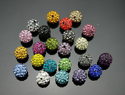 50pcs Crystal 10MM beads FOR Pave Disco Balls Rhinestone Ball 25 color Free Ship
