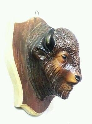 Vintage 1947 MAN CAVE BUFFALO MOUNT Chalkware Plaque Wall Hanging Orn-a-craft