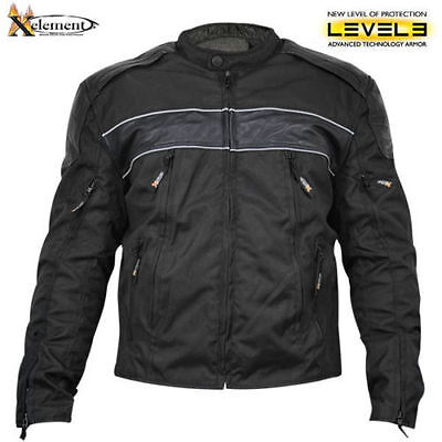 Xelement Mens Black Armored Padded Level 3 Textile Motorcycle Jacket (S-3XL)