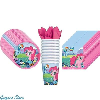 MY LITTLE PONY Plates,Napkins, Cups Pack for 16 Birthday Party Supply Decoration