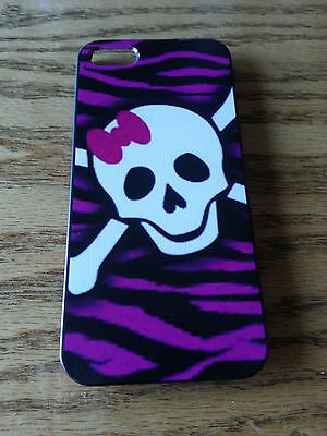 Skull with Pink Hair Bow Hard Back Cover Shell Case for iphone 4 and 4s