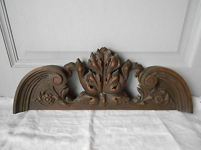 Antique French Oak Wood Carved Thick Pediment 1900