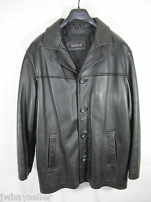 GUESS Black Soft Pebble Leather Jacket Removable Wool Liner Cell Phone Pocket LG