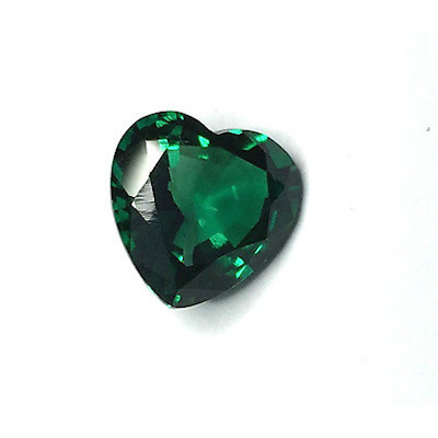 Lab Created Hydrothermal Emerald Green Heart Faceted Loose Stones (3x3-15x15mm)