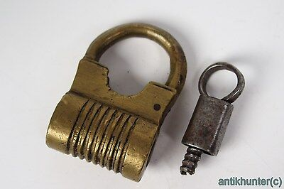 Vintage Brass Padlock *iron Working Key* German Antique - # 4