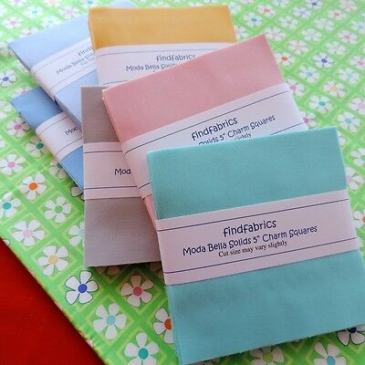"""MODA Plain Bella Solids Charm Pack Each Pack Contain 40 squares of 5"""" x 5"""""""