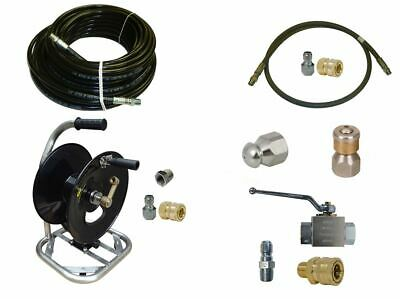 """Sewer Jetter Cleaner Kit - Ball Valve, 150' x 1/4"""" Hose, Reel and Nozzles"""