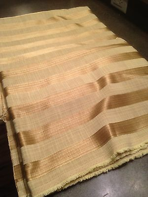 "Gold Brown Striped Cotton Fabric 55"" Wide / 8 Yards"