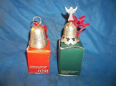 1991 & 1996 SILVERPLATED ENGRAVED CHRISTMAS BELLS INTERNATIONAL SILVER CO.