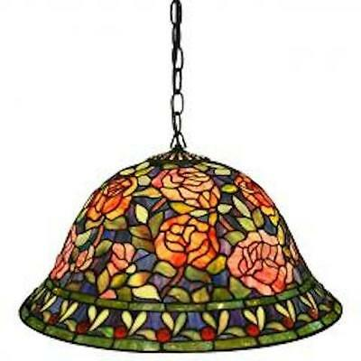 Tiffany Style Stained Glass Rose Hanging Lamp - For Any Rm Multi-Color Floral