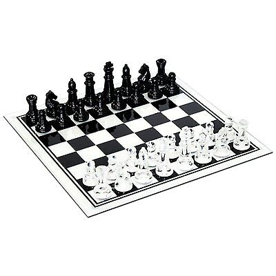 Black and Clear Glass Chess Set, New, Free Shipping