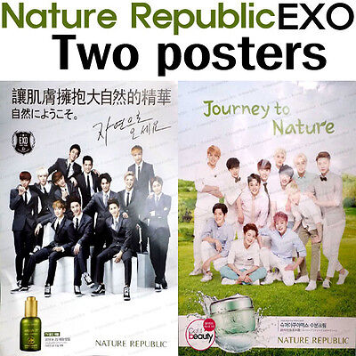 Two poster EXO Official Photo Poster EXO-K EXO-M Photo Card NATURE REPUBLIC KPOP