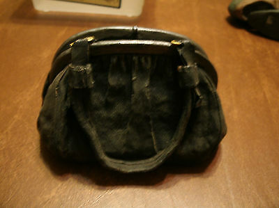 5.25 inches long by 4 inches tall clay vintage style  gray distressed purse