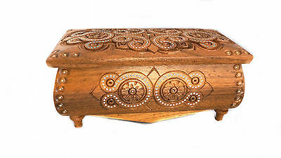 New Wooden Jewelry Box Hand Carved Hand Made Ukrainian Jewel-case #2 Real Wood